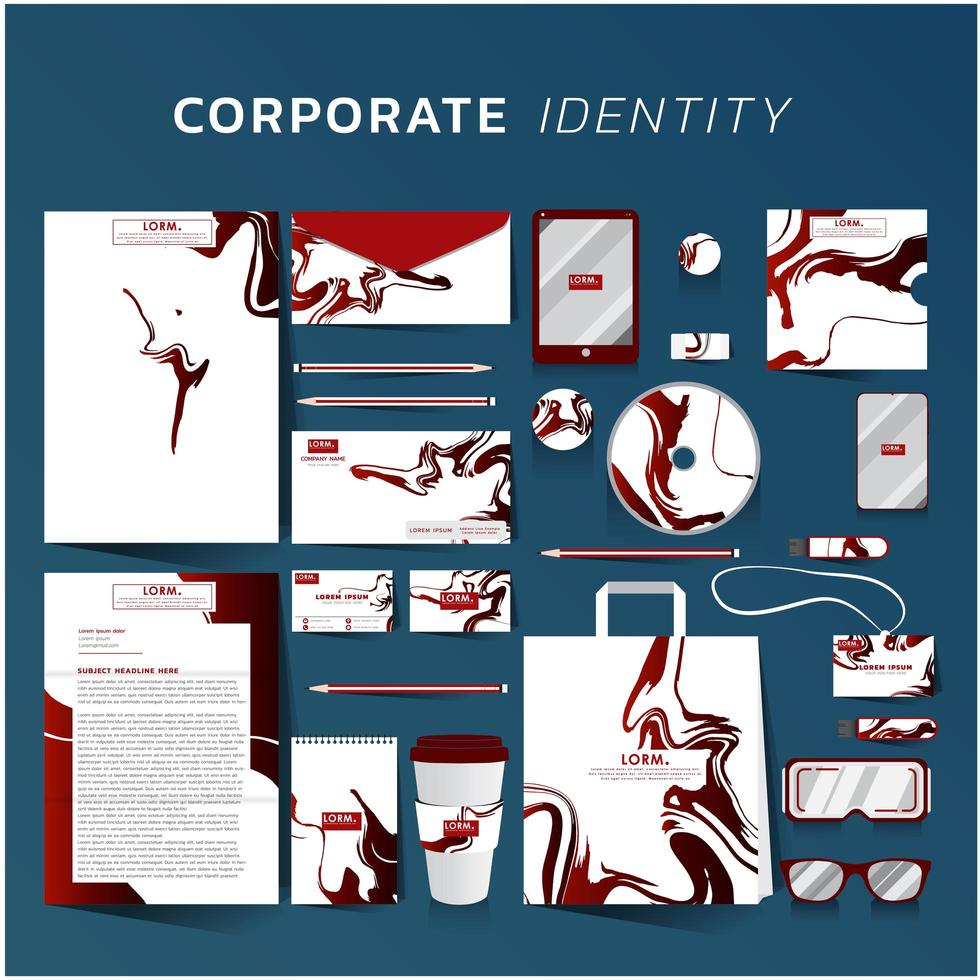 Corporate identity set with red marble design vector