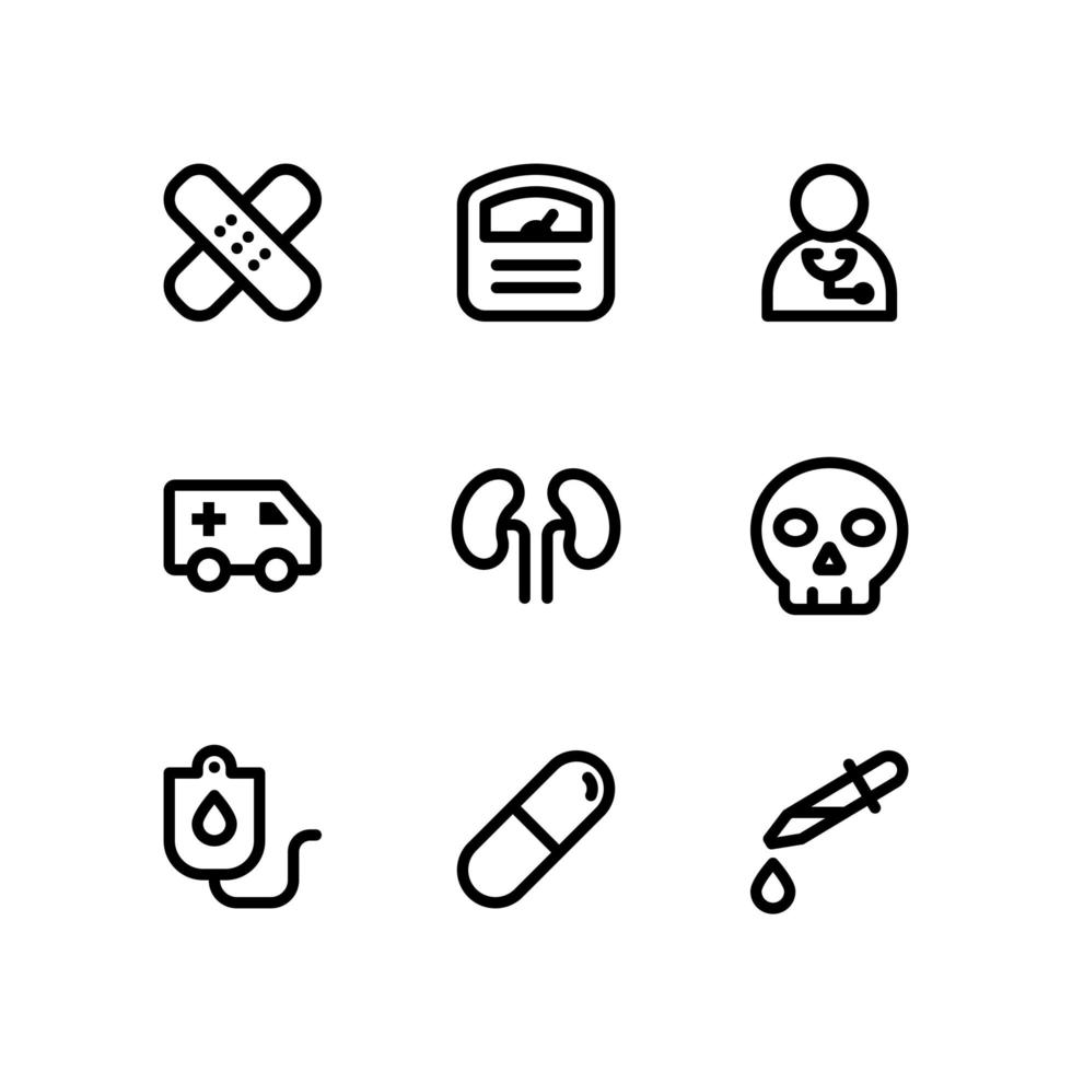 Medical Line Icons with Scale, Doctor and More vector