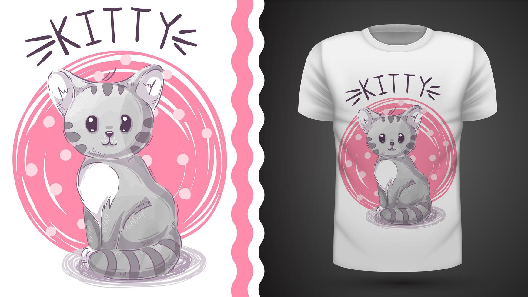 Watercolor Kitty with pink background  vector