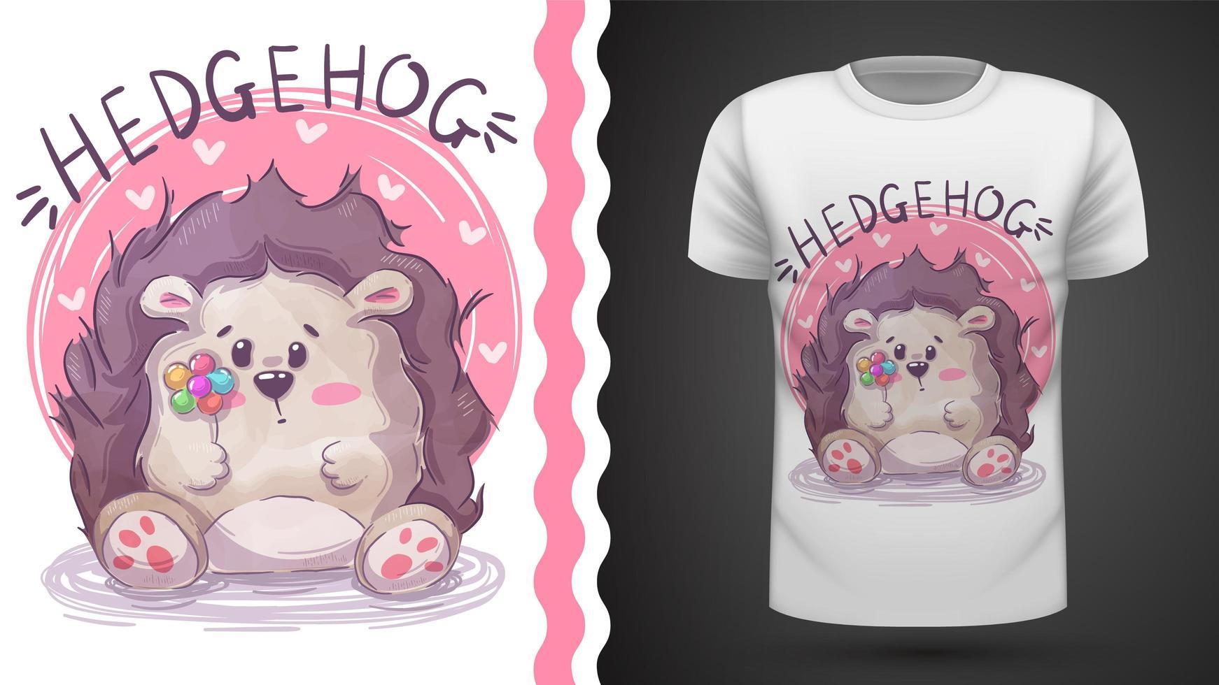 Hedgehog with flower vector