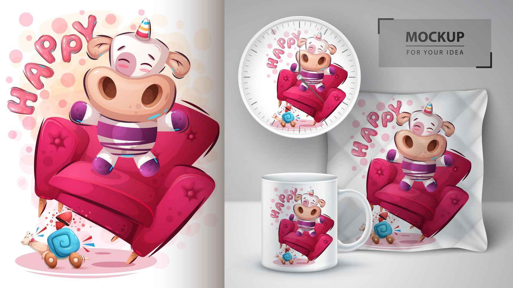 feliz unicornio póster y merchandising vector