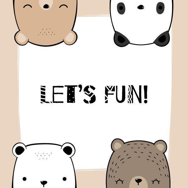 Polar, Teddy, Grizzly, Panda Bear Head Card vector