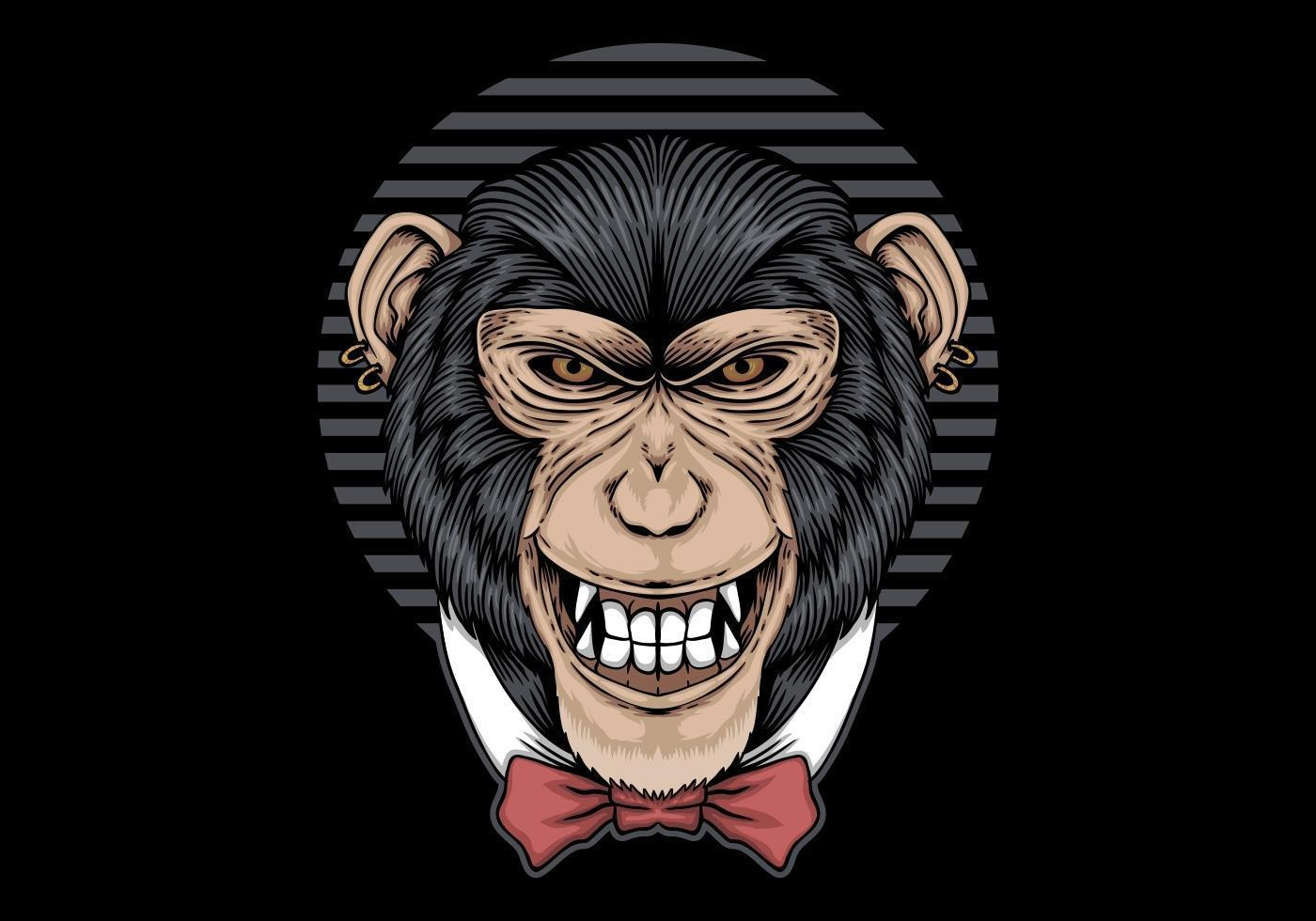 Chimpanzee bow tie  vector
