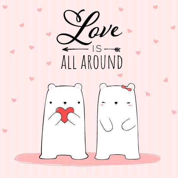 White Polar Bear Couple on Pink Wallpaper vector