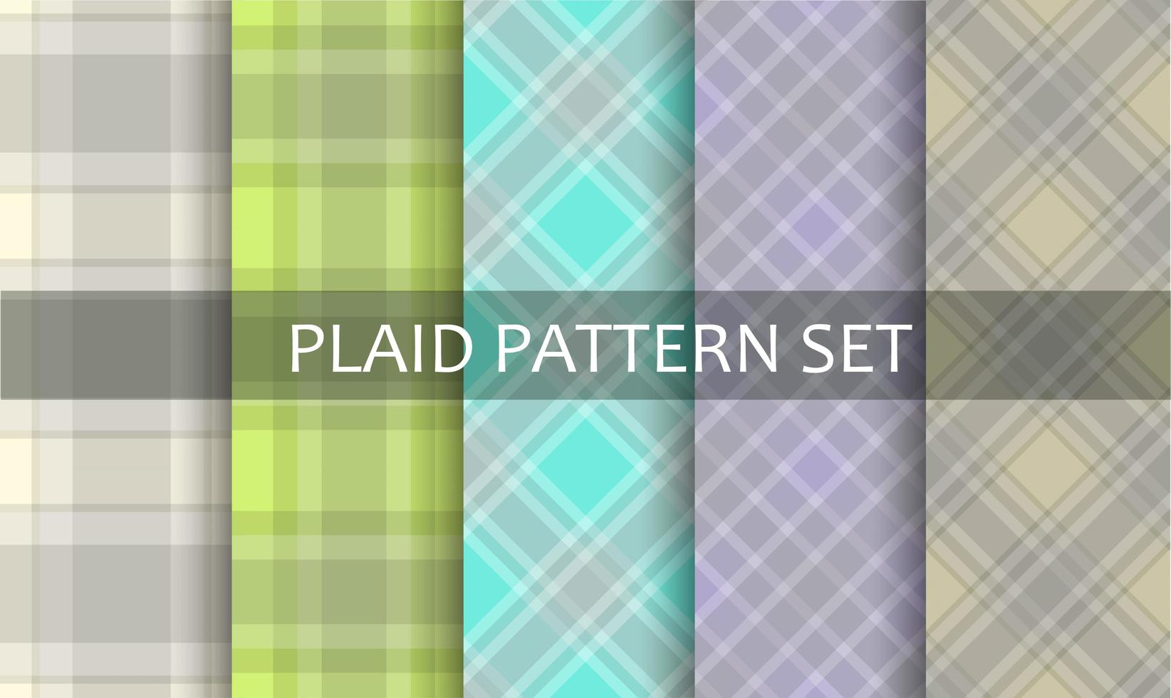 Plaid Pastel Spring Pattern Set vector