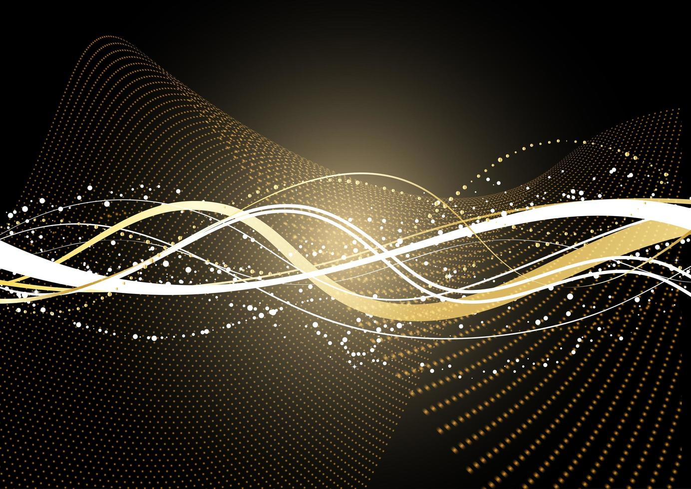 Decorative Background with Flowing Golden Dots and Lines vector