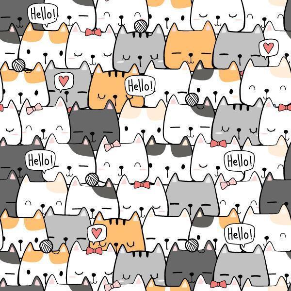 Cute Cat Cartoon Doodle Seamless Pattern vector