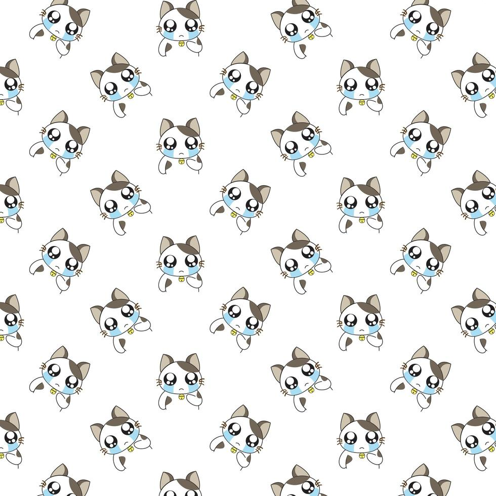 Cartoon Crying Cats Pattern vector