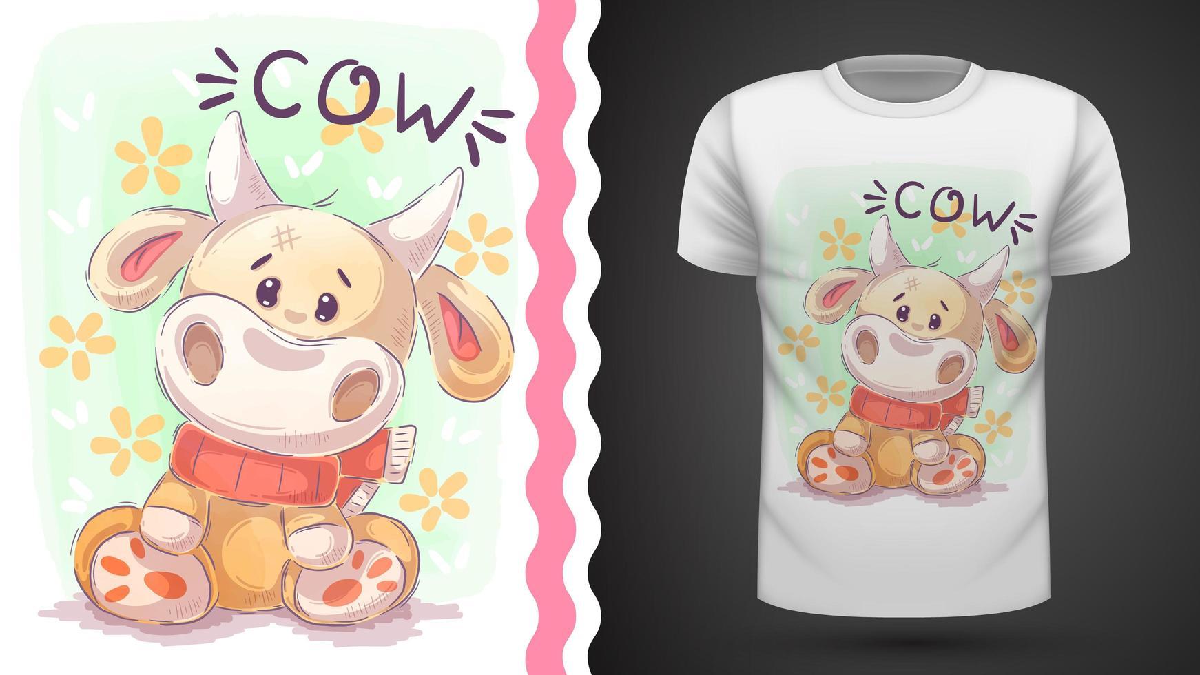 vaca con bufanda y flores vector