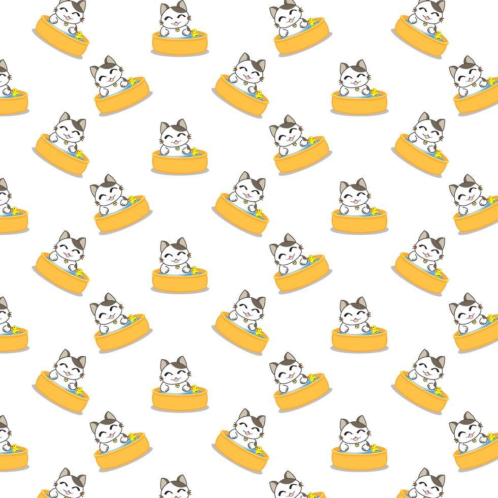 Cartoon Cats Bathing Pattern vector
