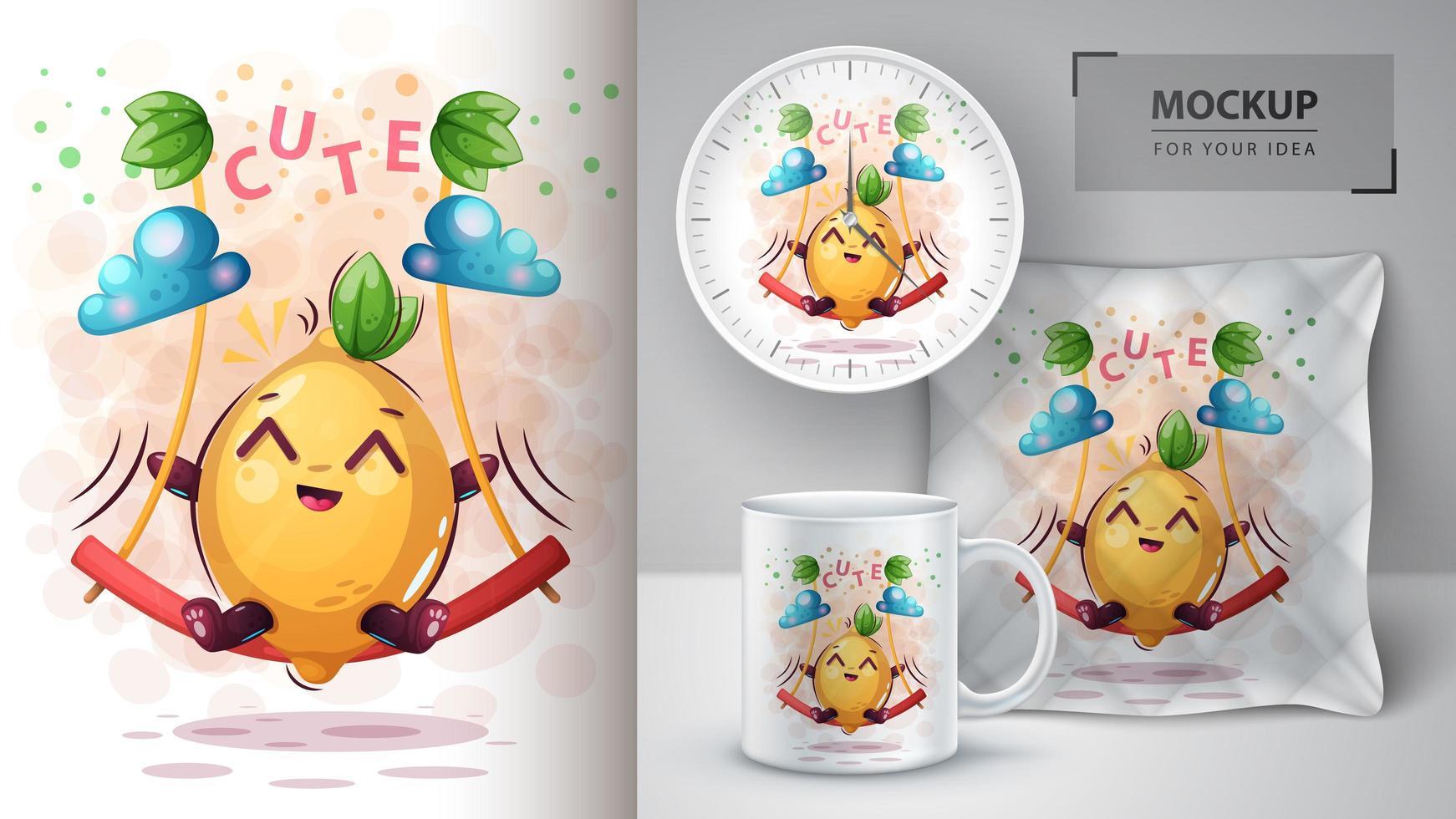 dibujos animados de limón en diseño de columpio vector