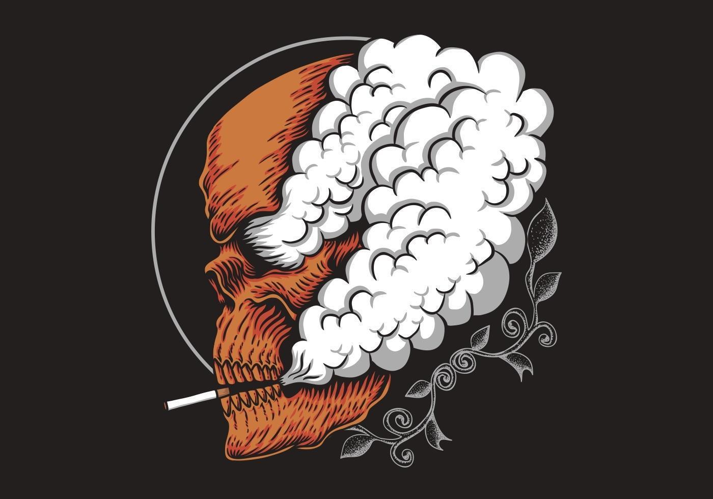Orange Skull Smoking vector
