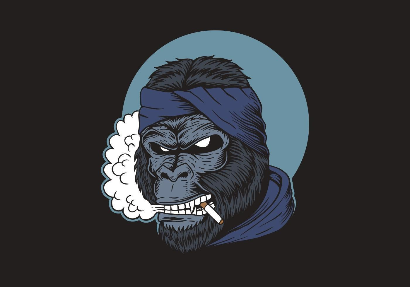fumar gorila mostrando los dientes vector