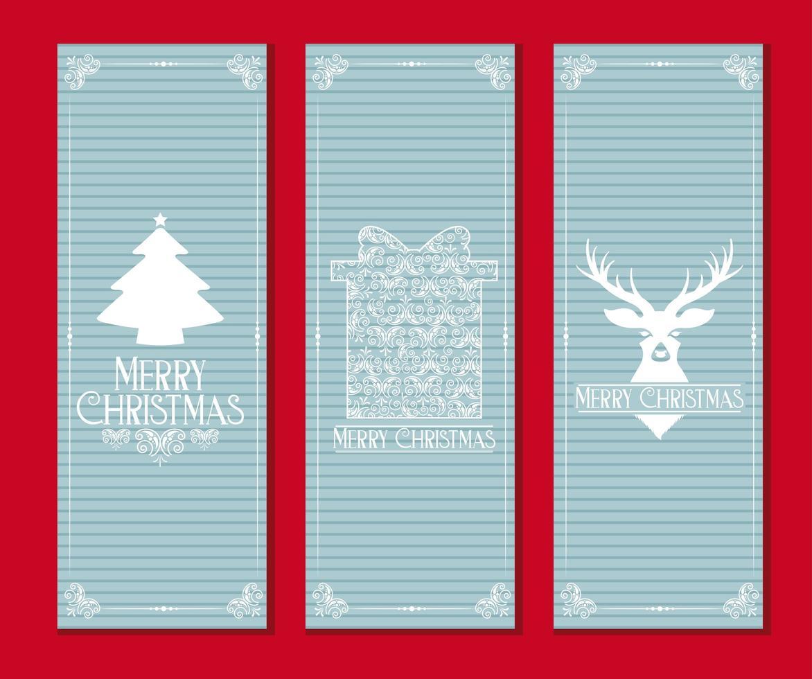 Light Blue Merry Christmas Card Set vector