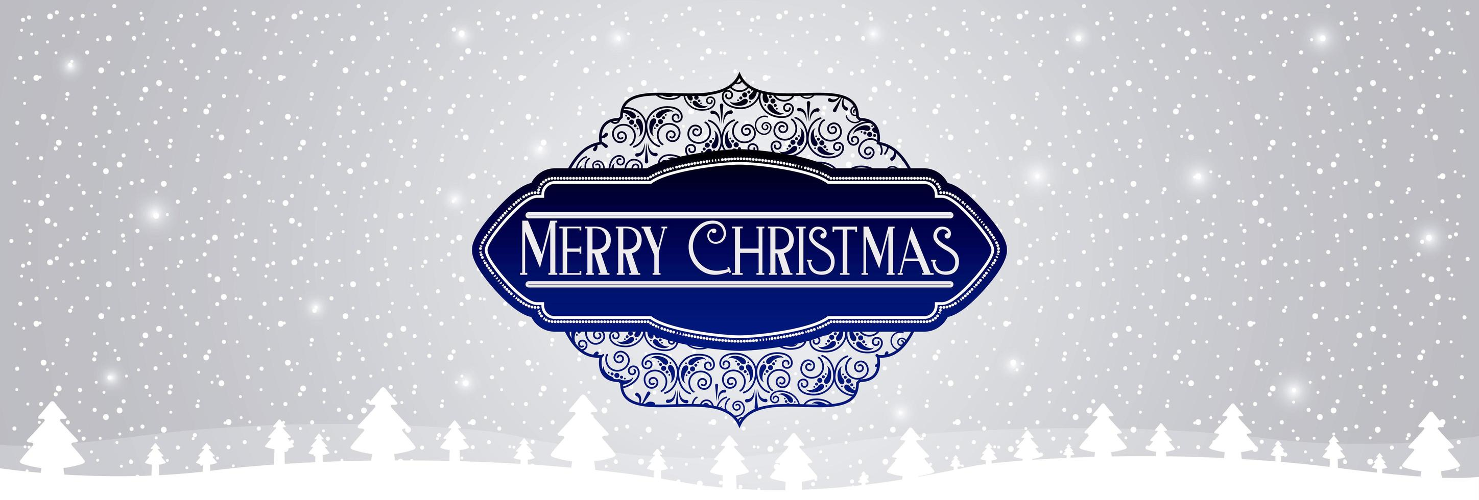 ''Merry Christmas'' Snowy Message Banner vector