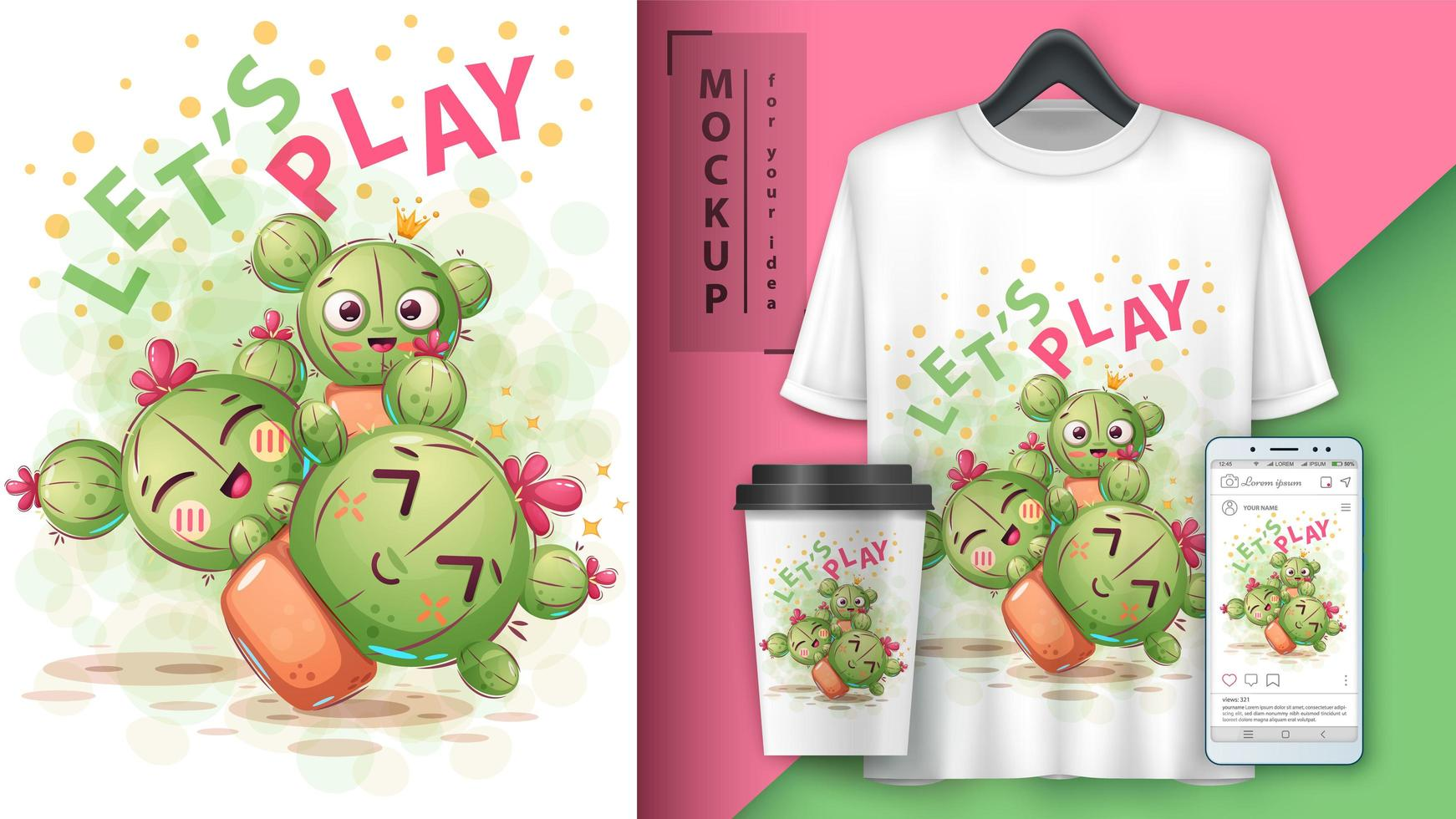 Cute Cactus Let's Play Design vector