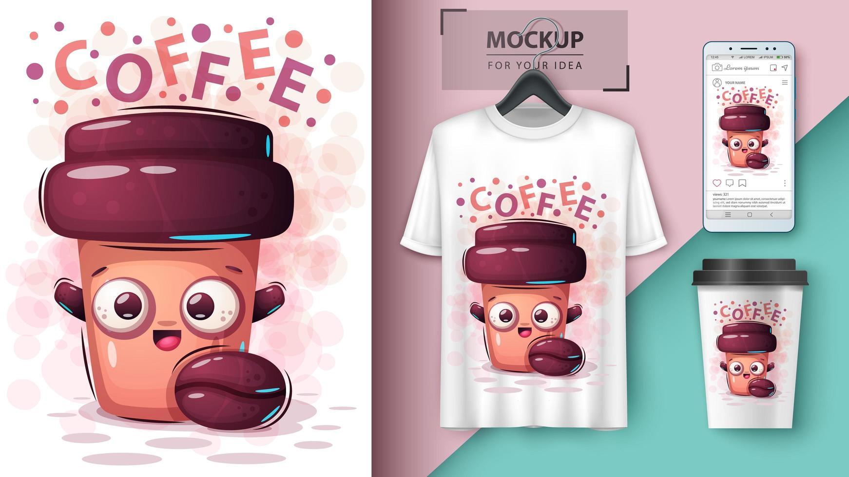 Cartoon Kaffeetasse Design vektor