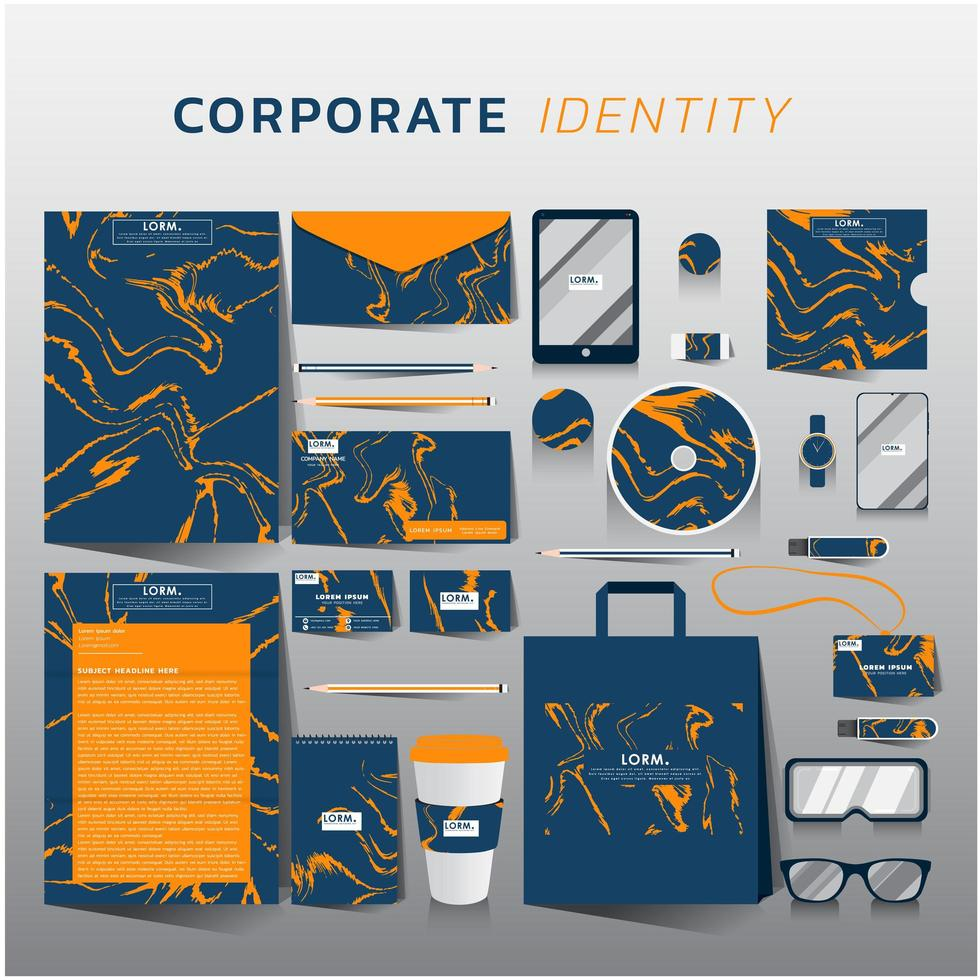Corporate identity set on blue with orange marble design vector