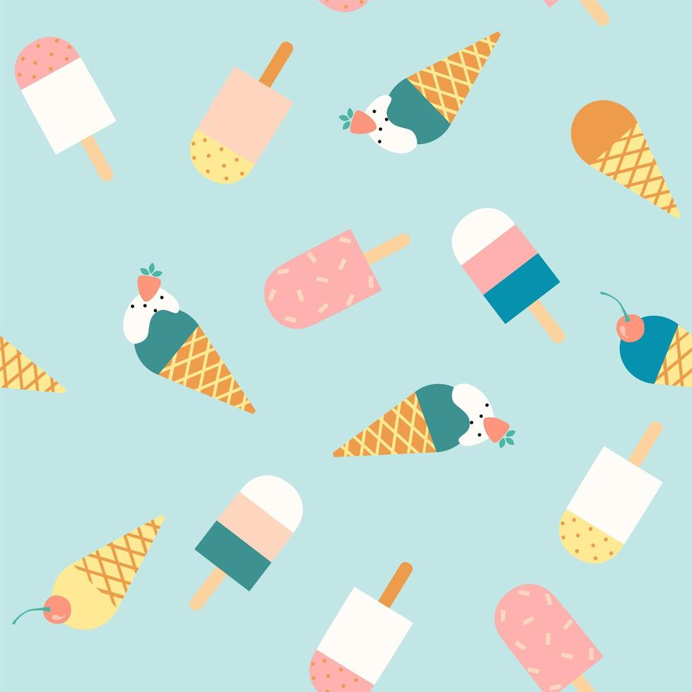 Seamless pattern with ice cream. vector