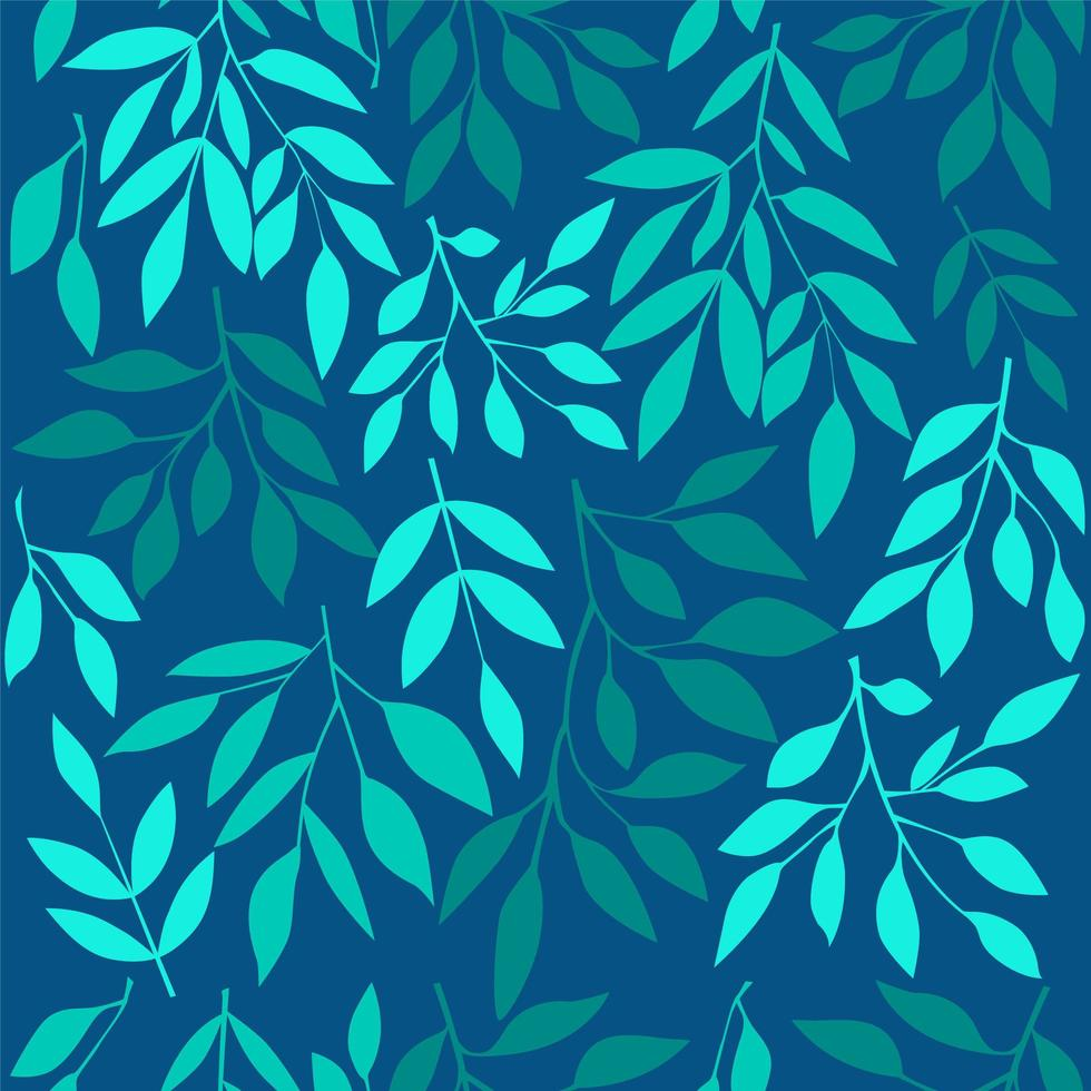 Seamless pattern with blue leaves. vector