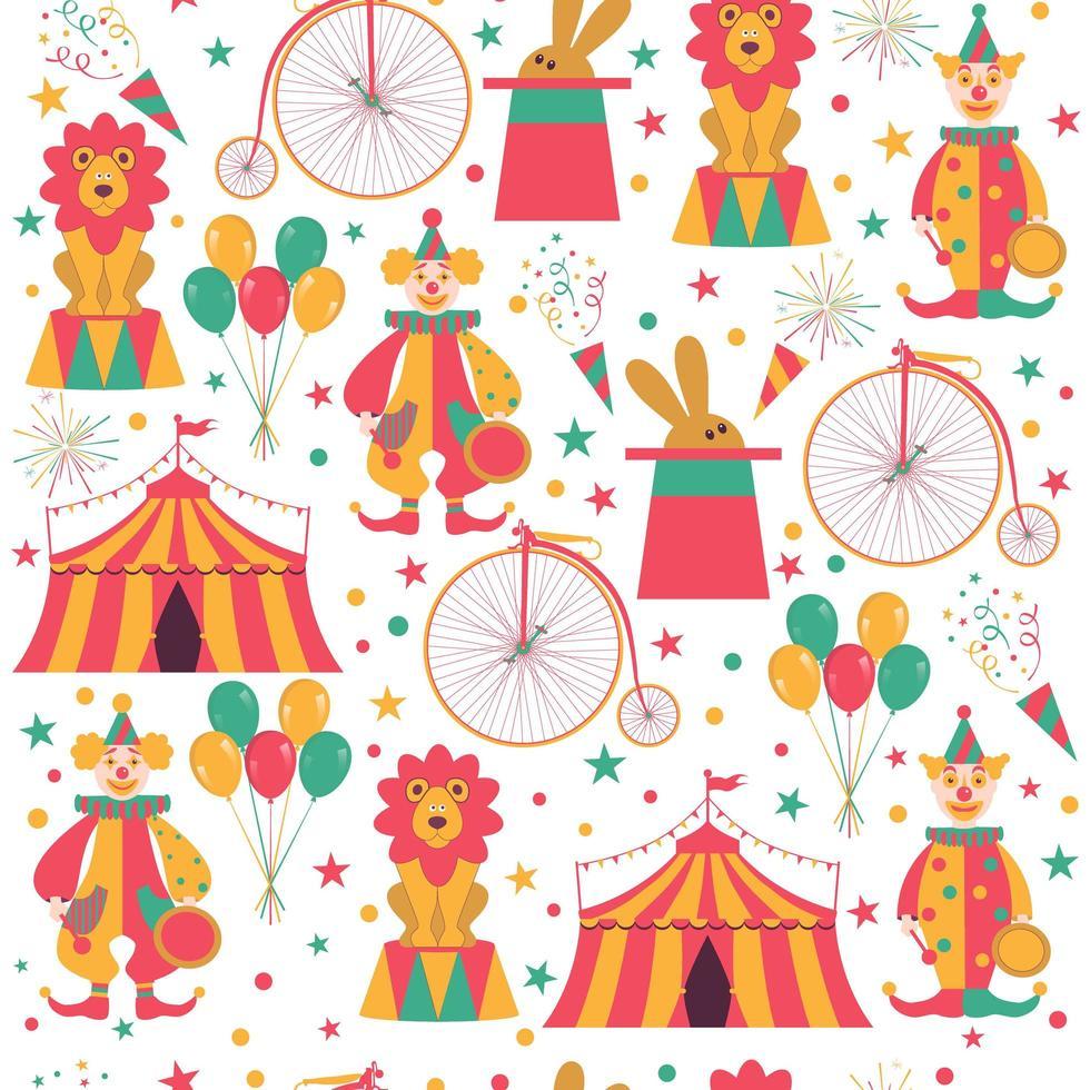 Patrones sin fisuras con personajes de circo. vector