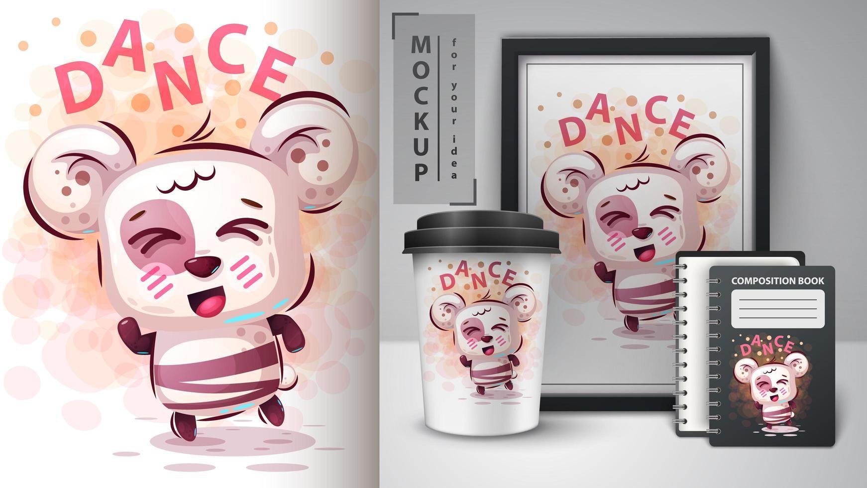Cute Cartoon Dance Bear Design  vector