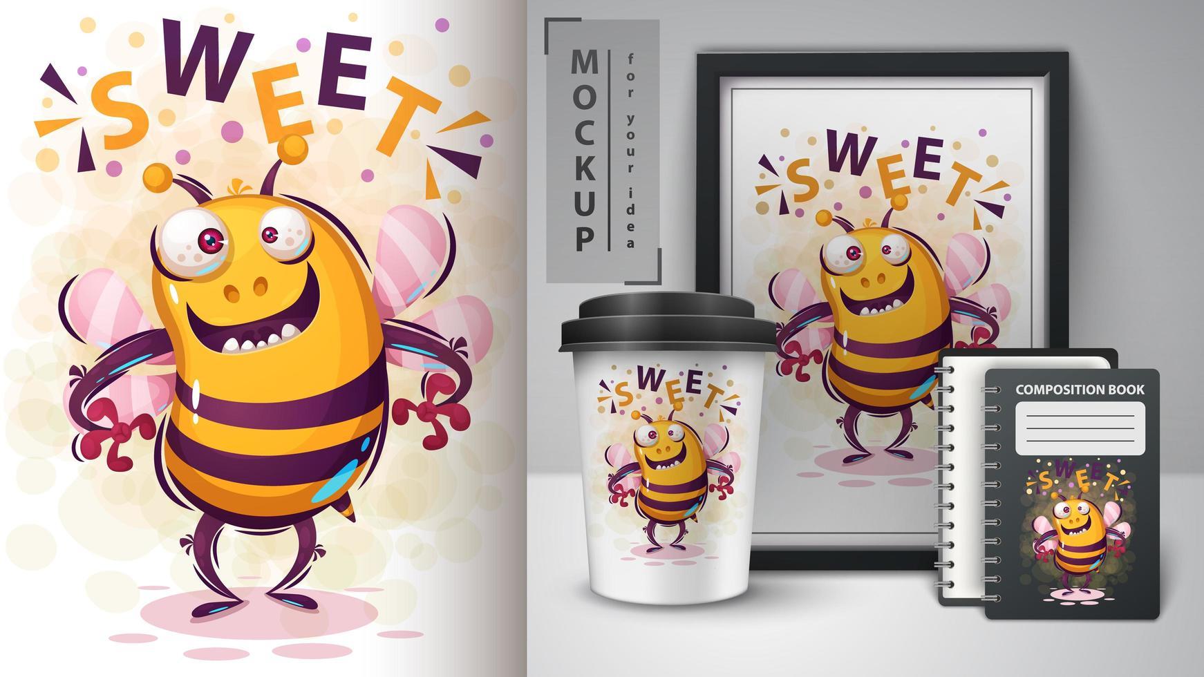 Crazy Sweet Bee Design vector