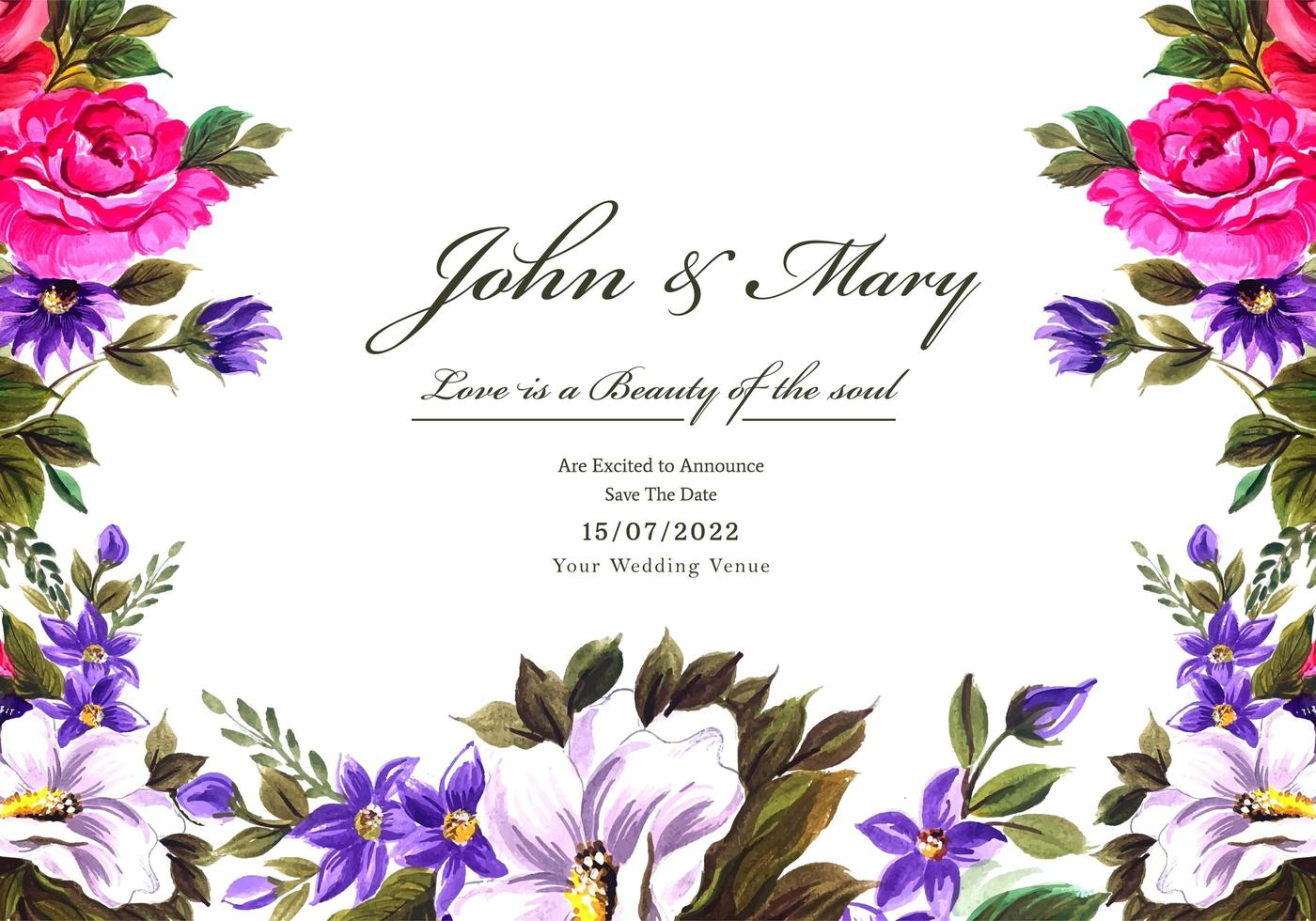 Wedding decorative flowers frame card vector