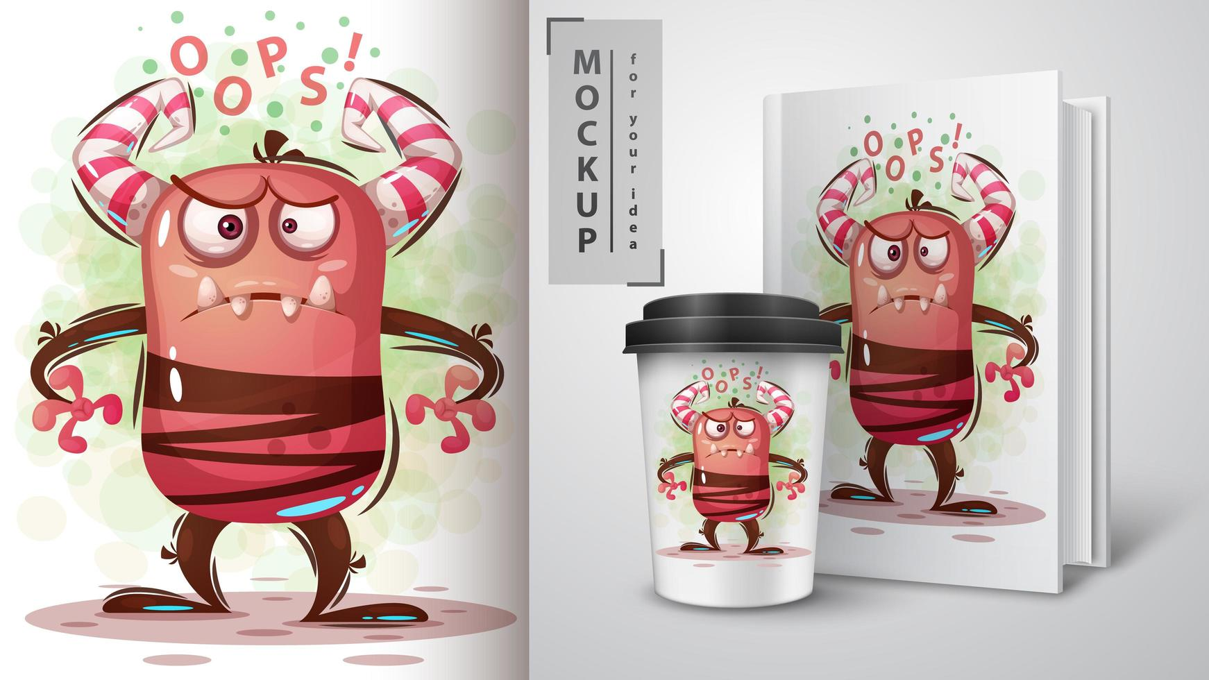 ''Oops'' Red Monster with Horns vector