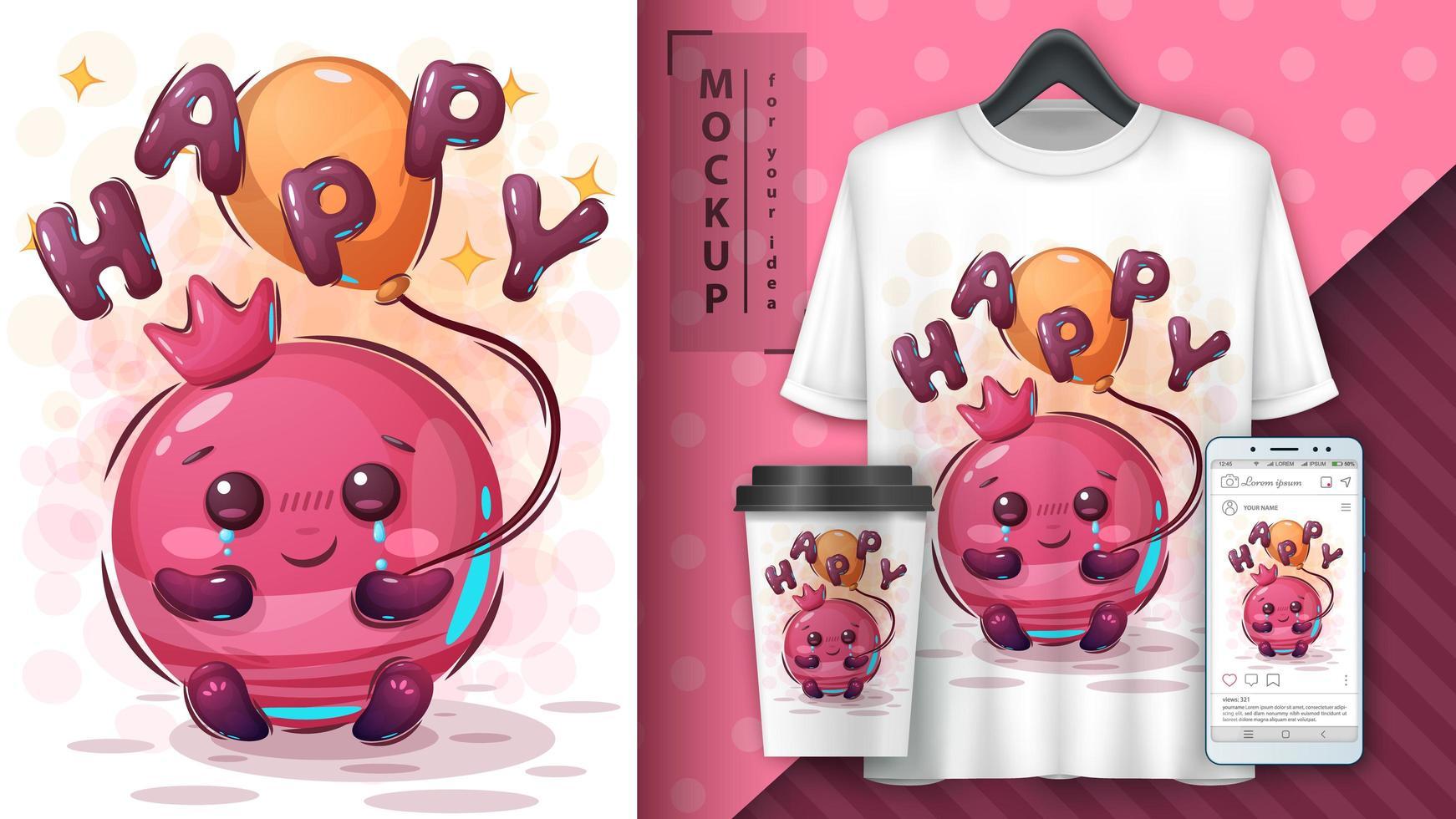 Cute Pomegranate Happy Poster Design  vector