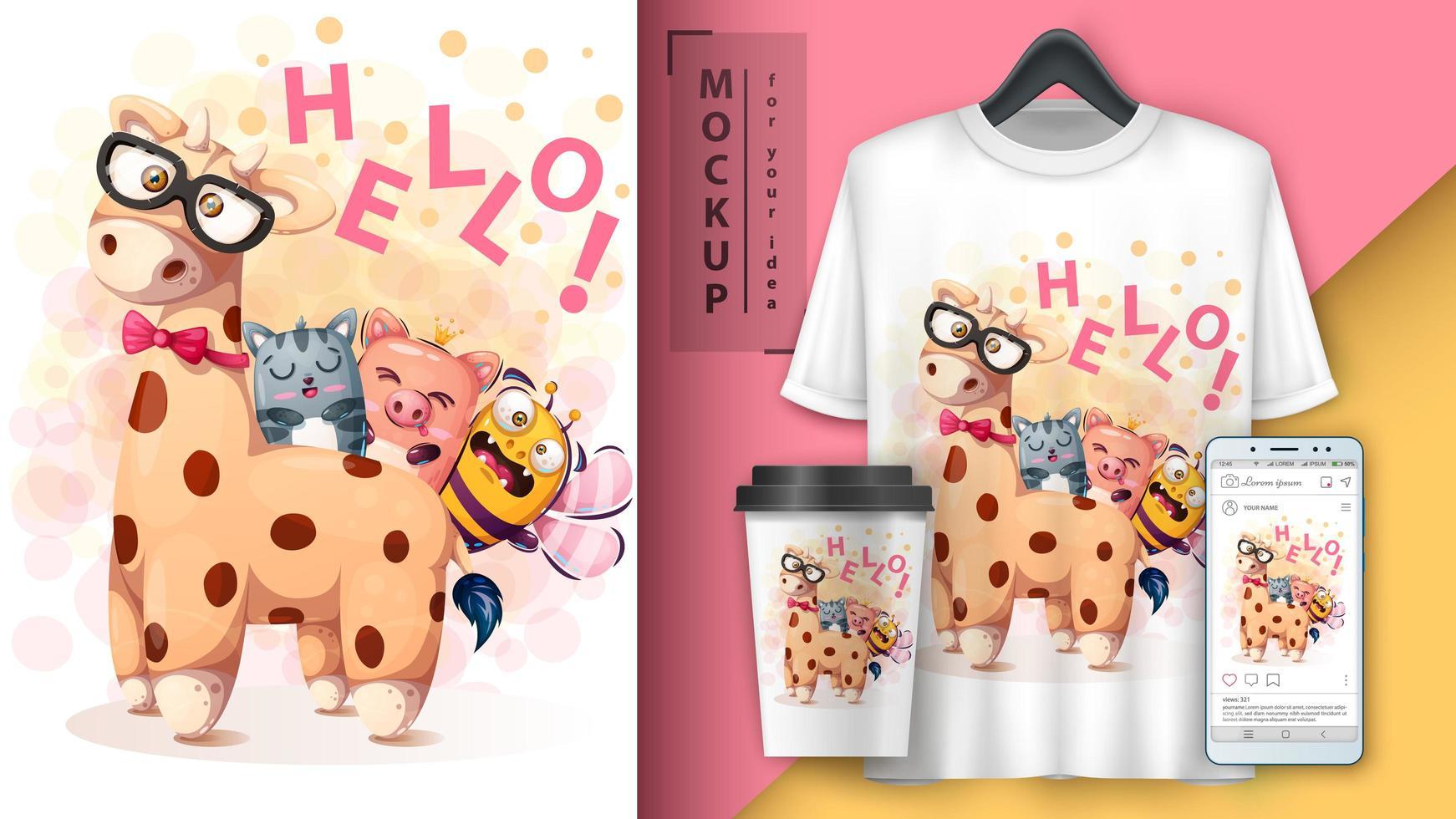 ciao amici giraffa cartoon poster vettore