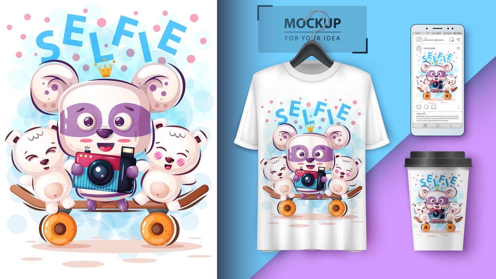 Ursos Dos Desenhos Animados Tendo Design Selfie Download De Vetor