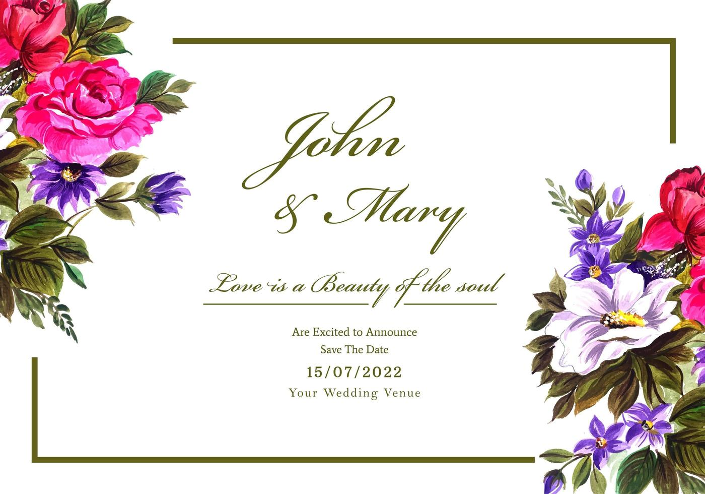 Romantic wedding invitation with colorful flowers vector