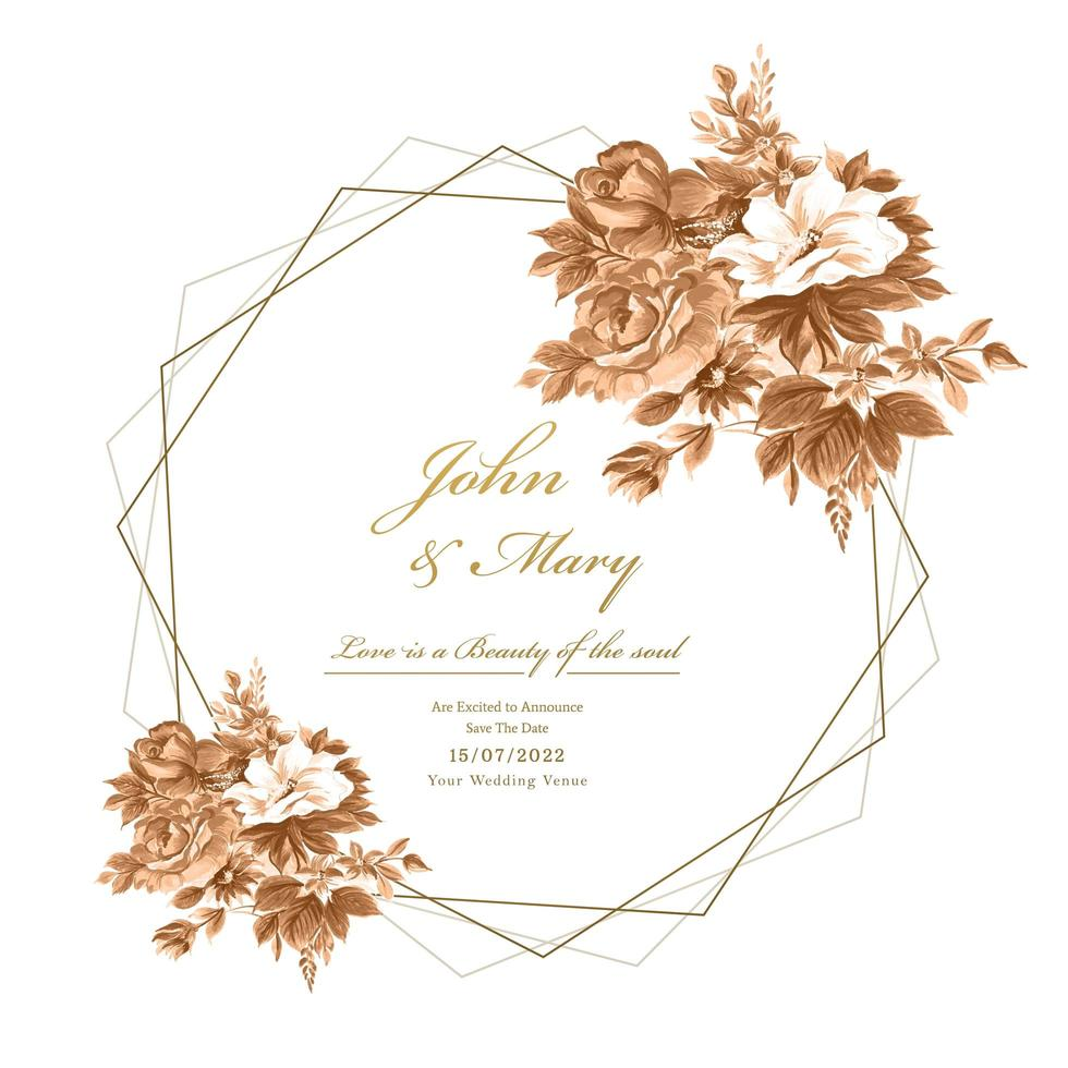 Wedding card with watercolor flowers and geometric frame vector