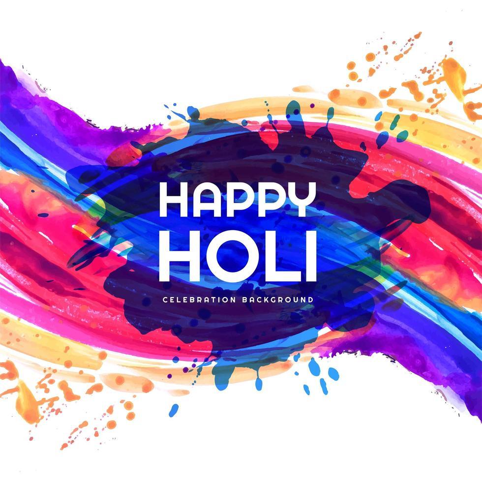 Happy holi colorful splash festival card vector