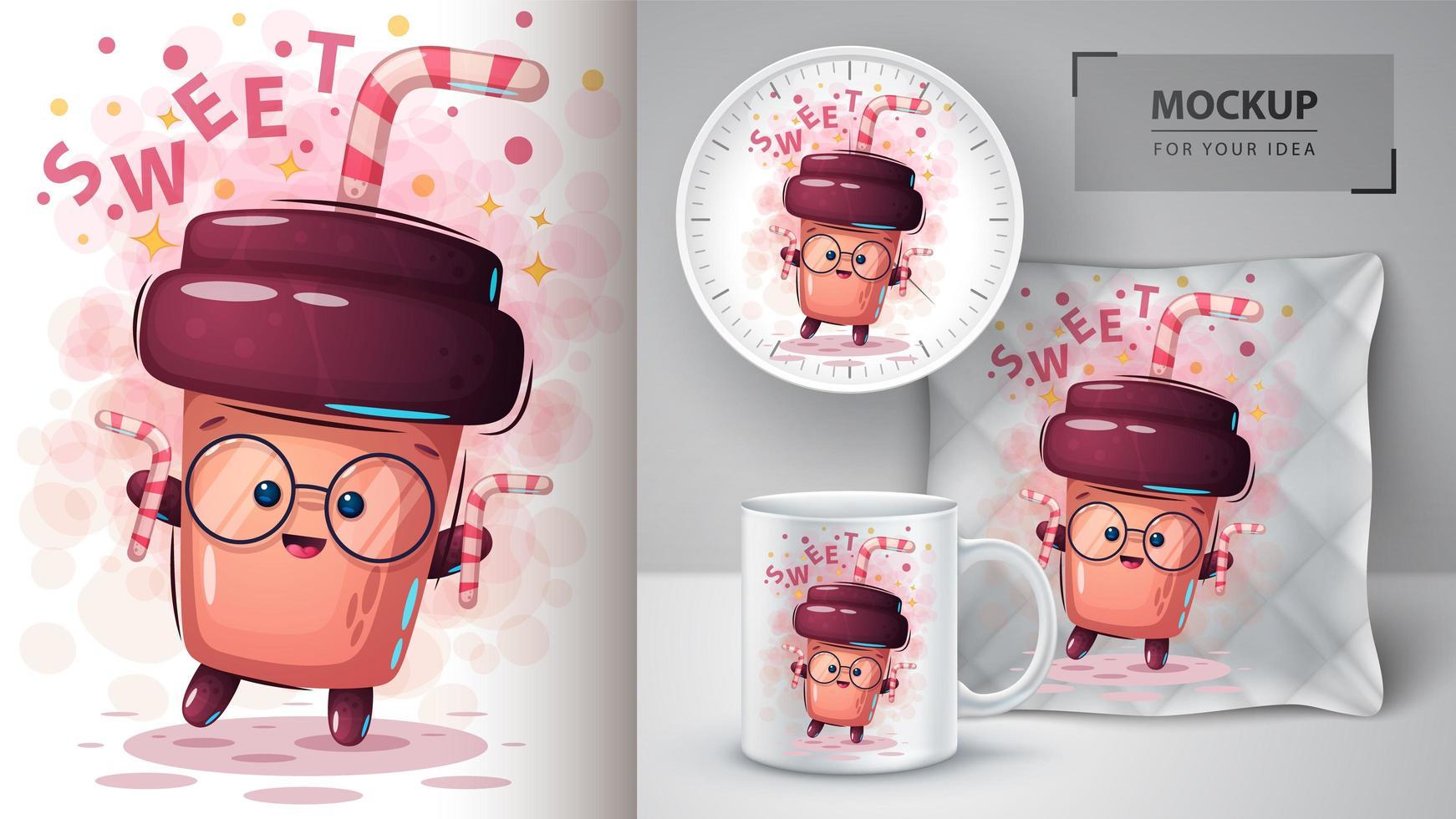 taza de café dulce de dibujos animados con paja vector
