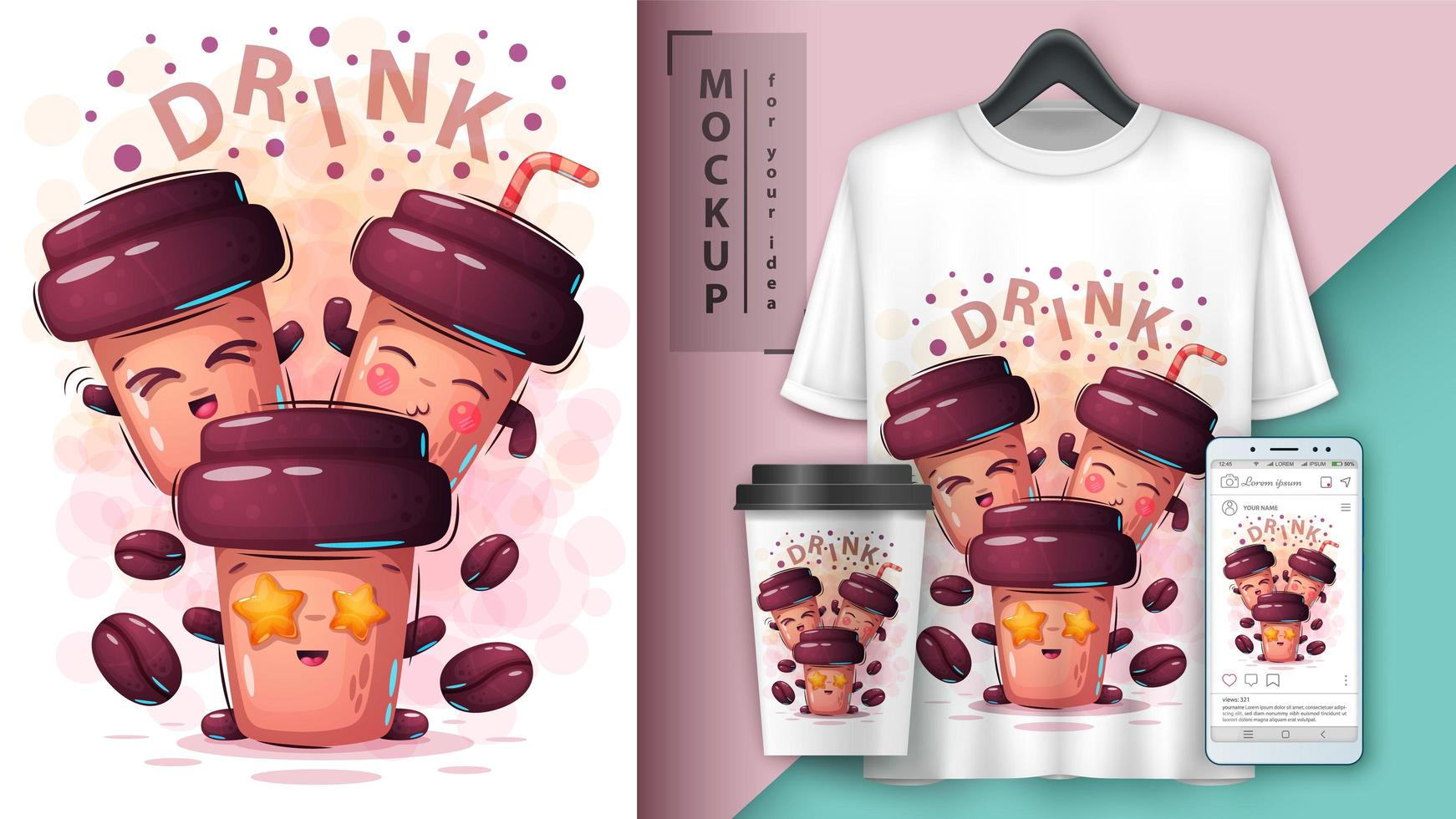 Three Disposable Coffee Cups with Faces vector