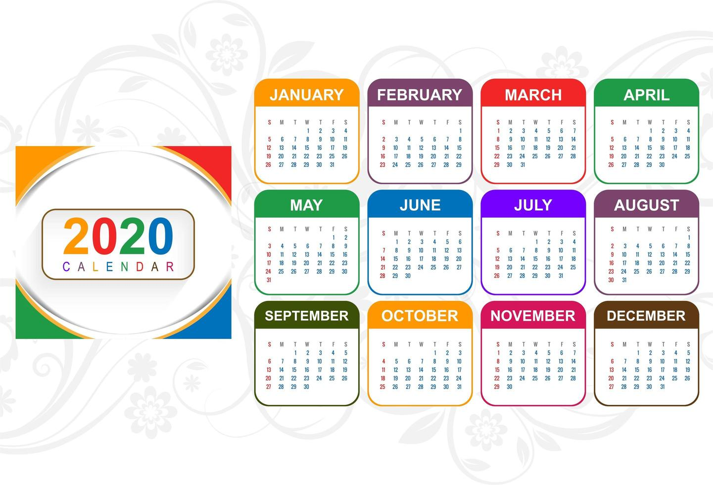 Colorful new year 2020 calendar with floral background vector