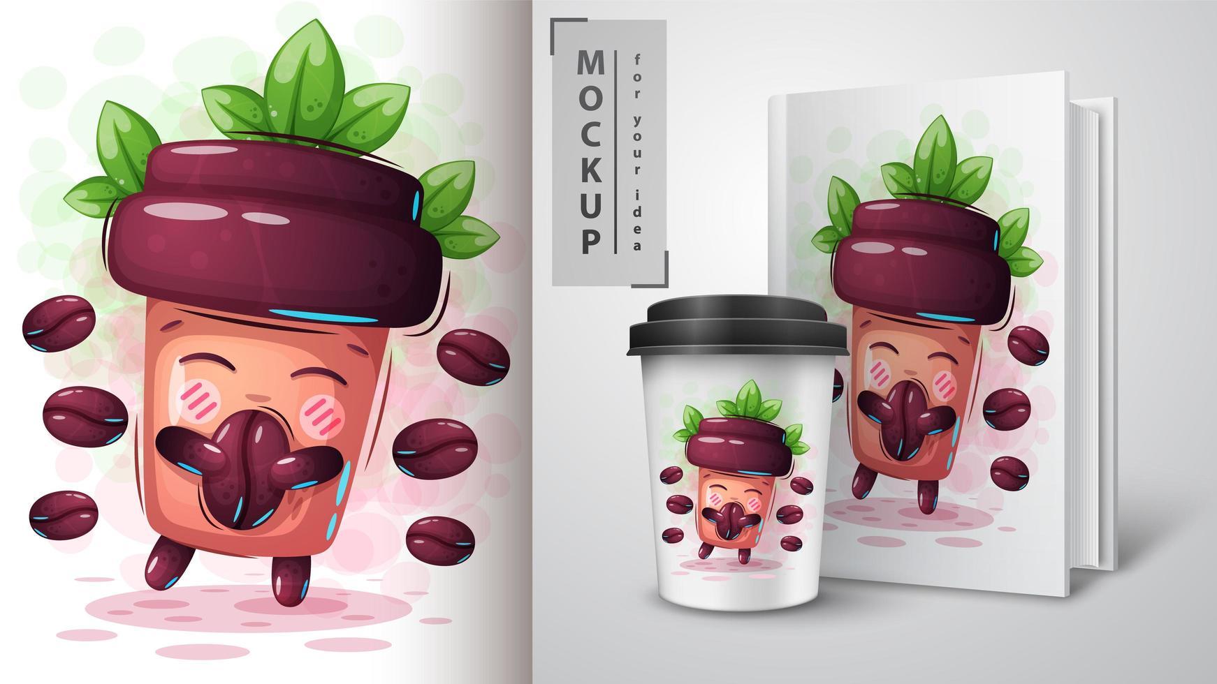 taza de café de dibujos animados con granos de café vector