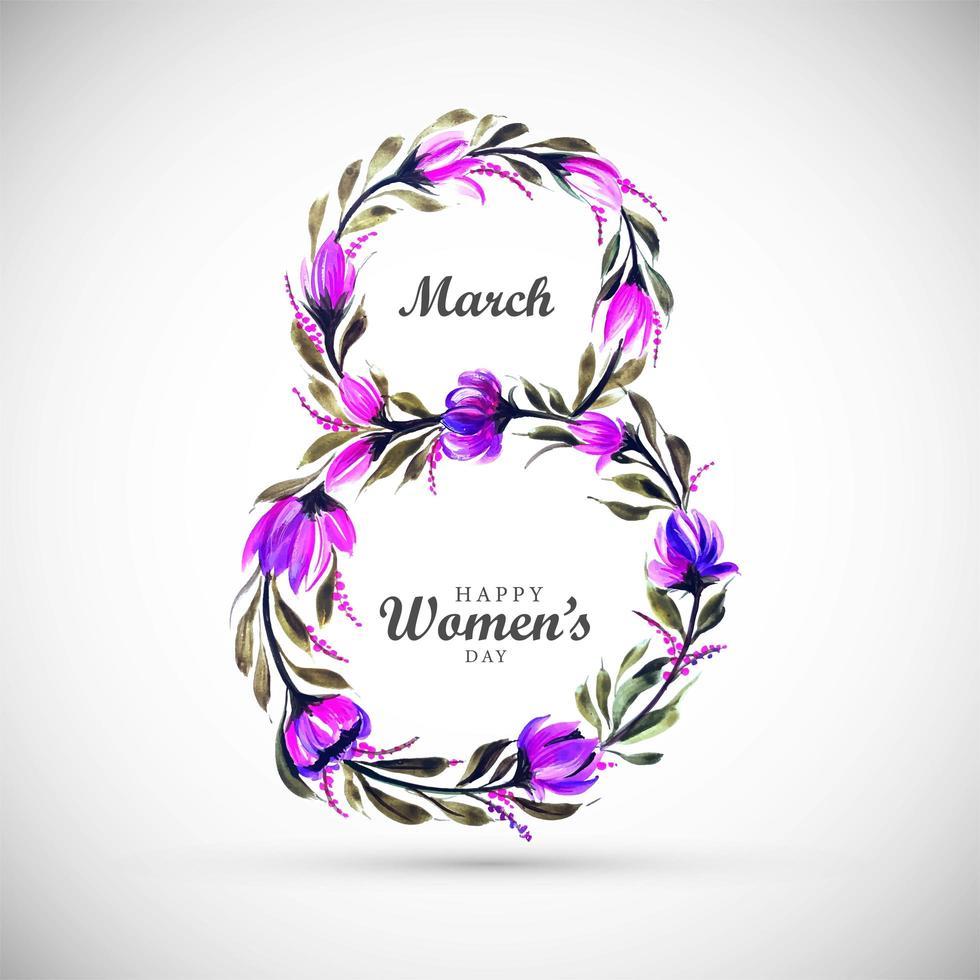 Women's Day Purple Flower in 8 Shape vector