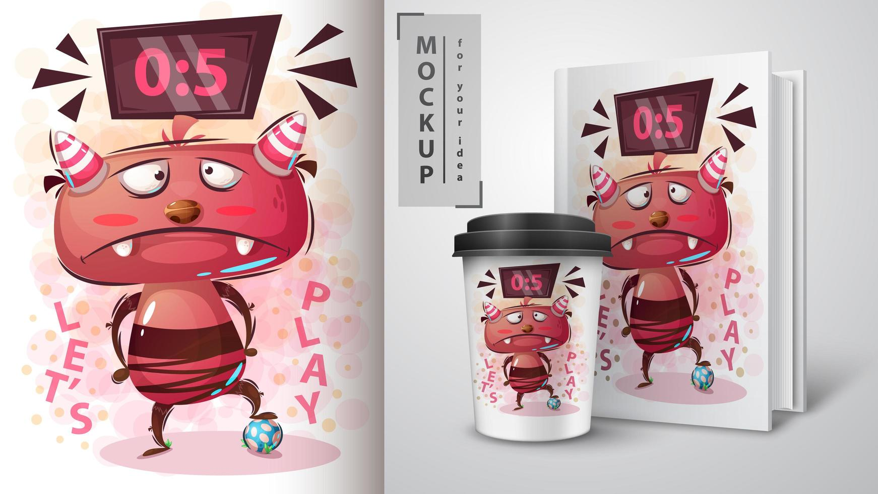 Cartoon Monster Playing Soccer Design vector