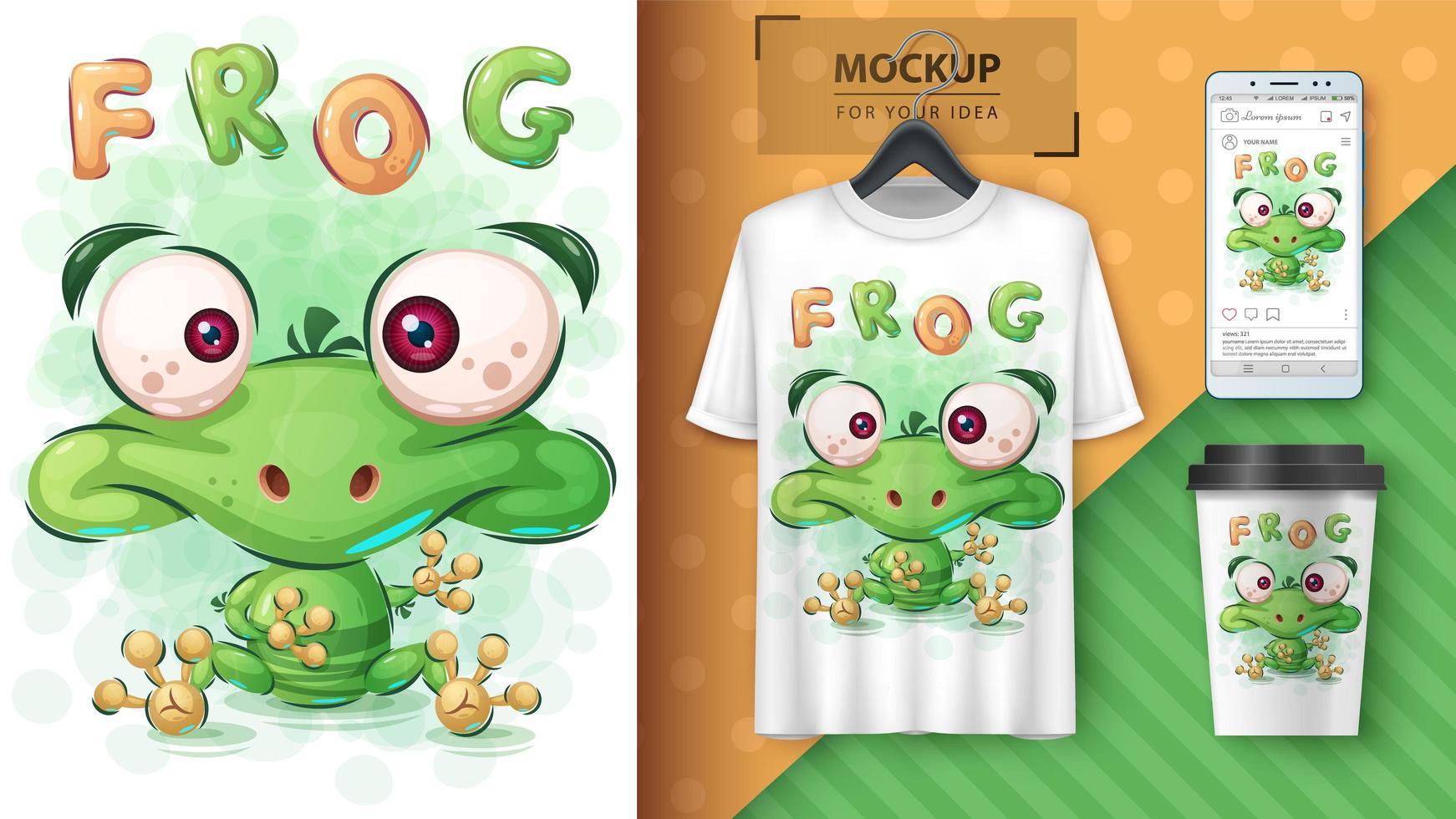 cartel de rana verde de dibujos animados vector