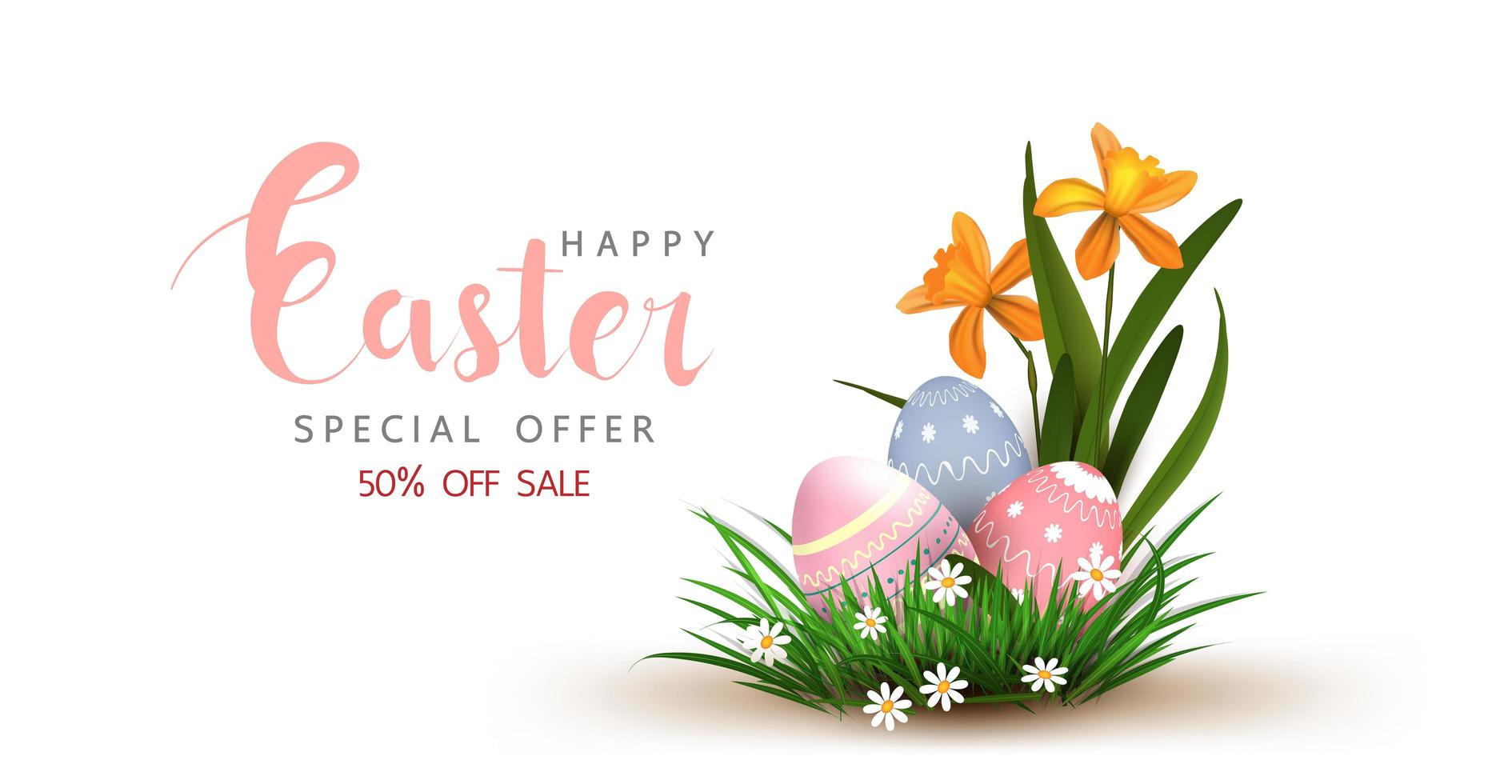 Easter Sale Poster with Eggs in Grass vector