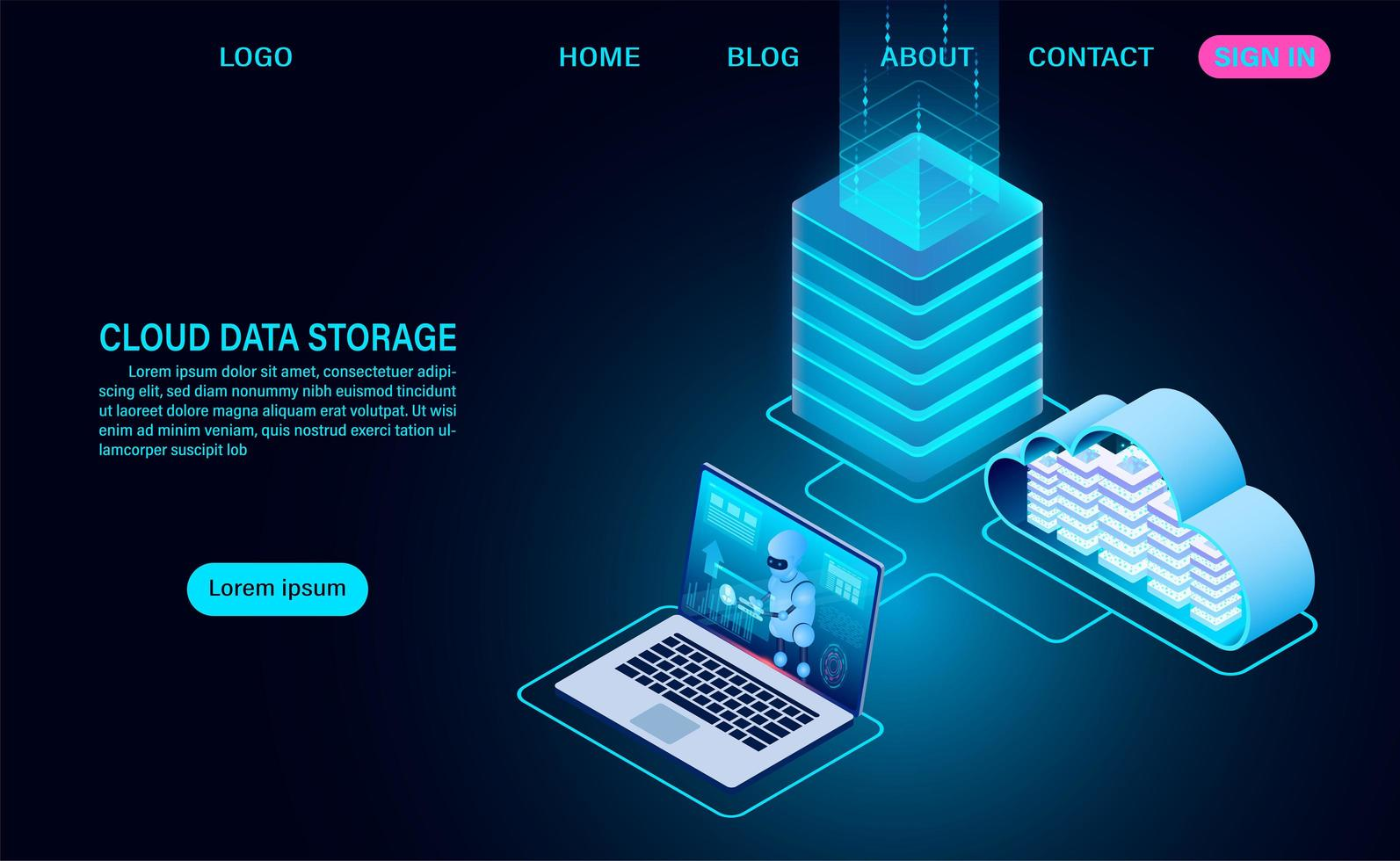 Cloud Data Storage and Server Room vector