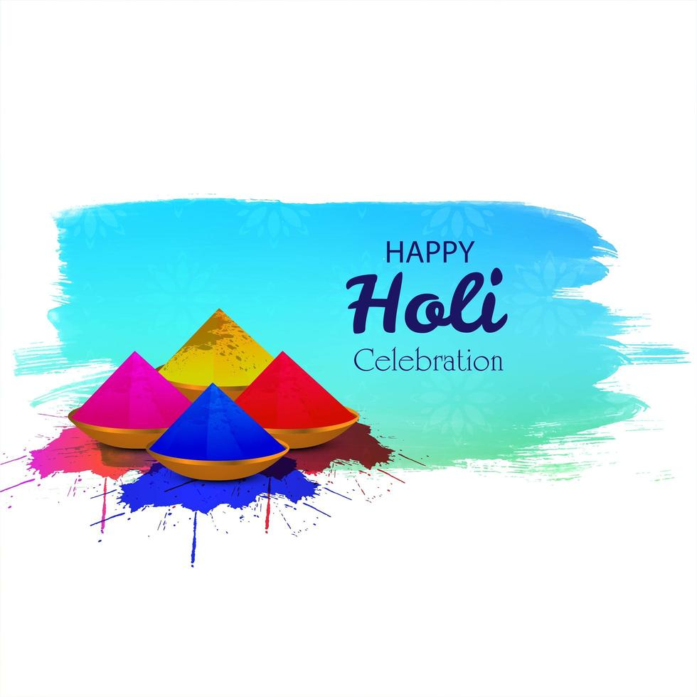 Indian festival of colourscard  with gulal in front of paint splash vector