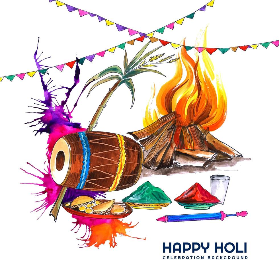 Watercolor Card with Colorful Holi Elements and Garland vector