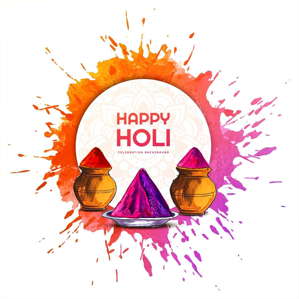 Holi Card with Circle Frame in Front of Paint Splash vector