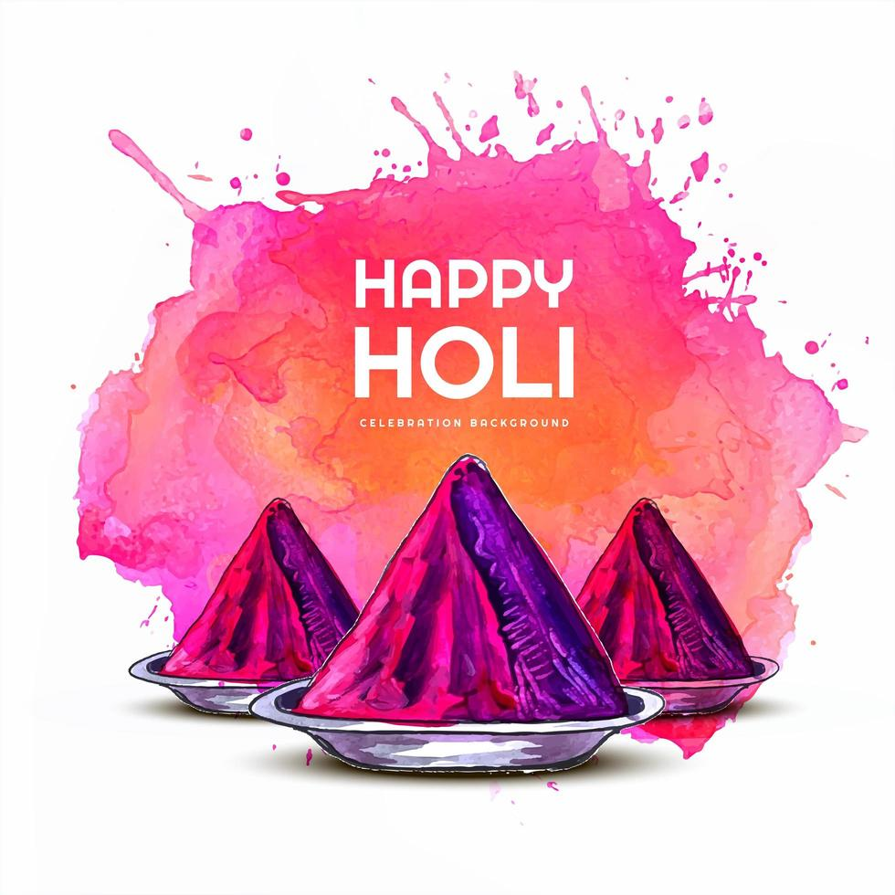 Happy Holi Card with Pink Gulal and Paint Splash vector