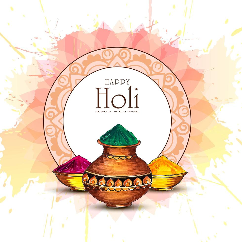 Holi Greeting Card with Decorative Circle Frame vector