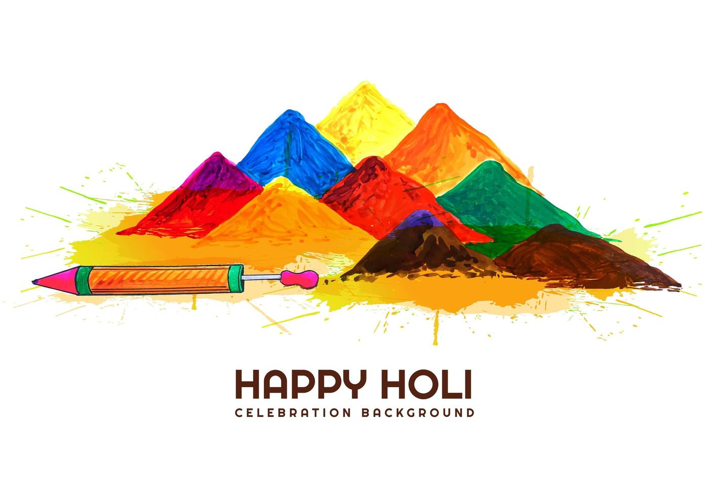 Holi card with piles of gulal and pichkari vector